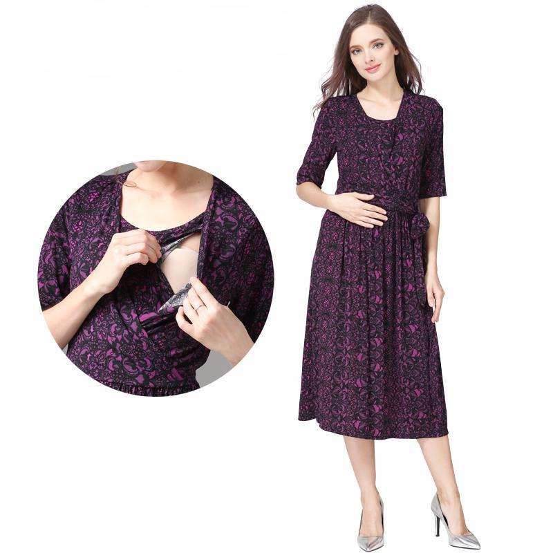 Maternity Dress Wrap Deep Purple