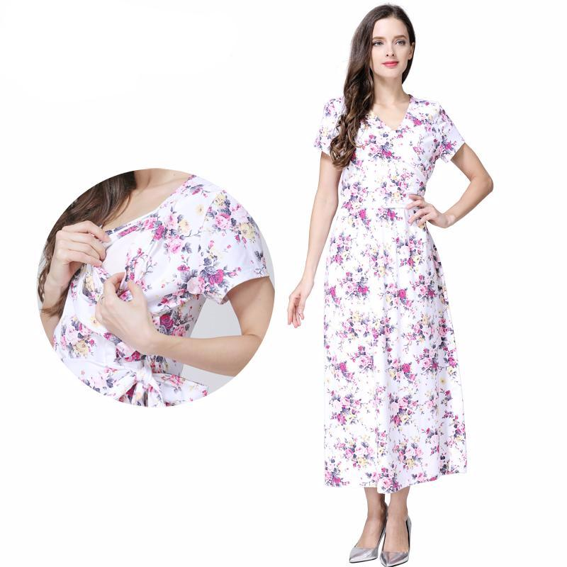 Maternity Dress Summer Floral Casual Full Length - Goggi, Jolli & Milki - www.gojomi.com