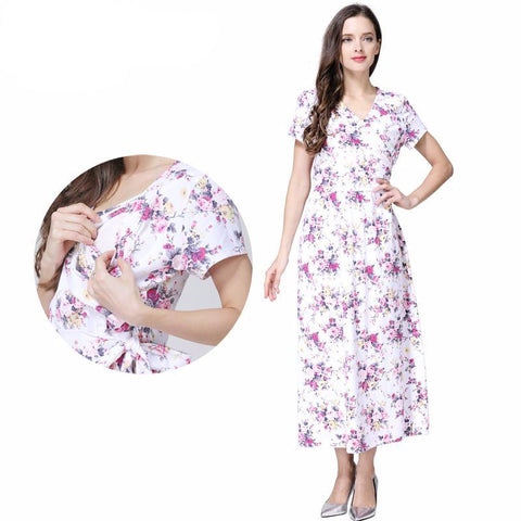 Maternity Dress Summer Floral Casual Full Length