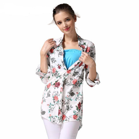 Maternity Shirt Cover Long Floral
