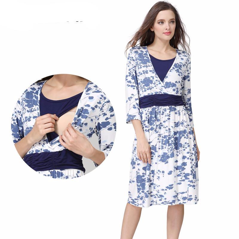 Maternity Dress Summer Blue Blossoms Casual - Goggi, Jolli & Milki - www.gojomi.com