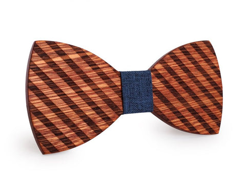 Bunyan's Bow Ties - Butterfly Diagonal Stripes Dark Handcrafted Wood
