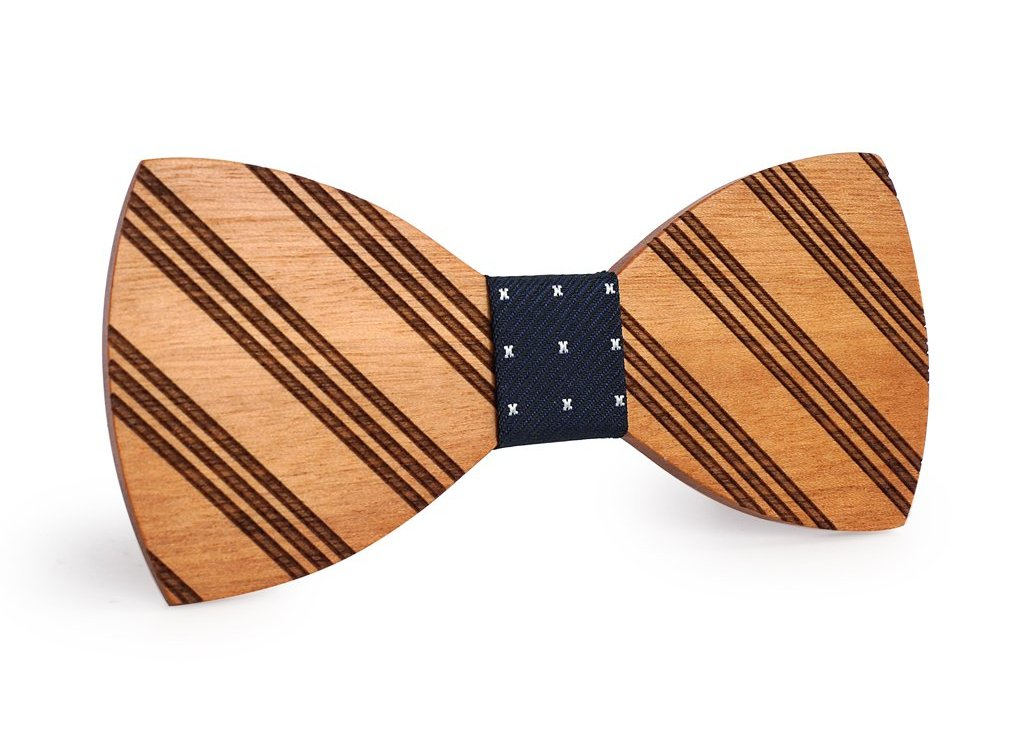 Bunyan's Bow Ties - Butterfly Diagonal Stripes Fine Handcrafted Wood