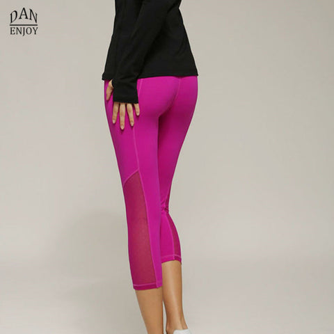 Women Sports Leggings 3/4 with Mesh Panel