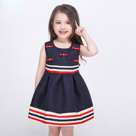 Girls Dress Casual Red White and Blue Stripes with Bows