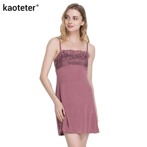 Women's 100% Pure Silk Chemise Full Slip with Embroidery