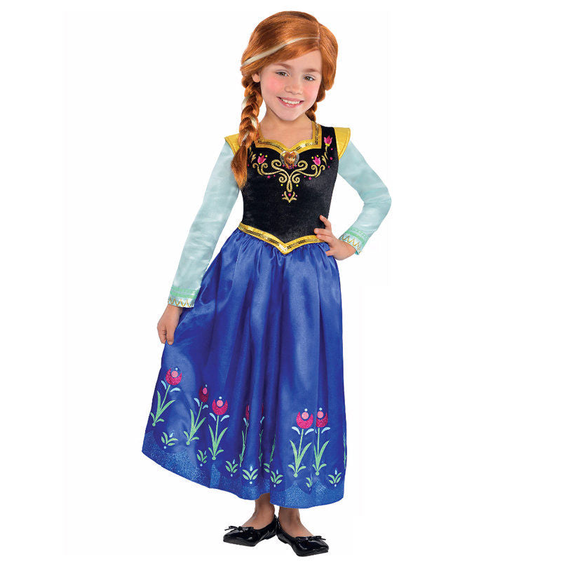 Cosplay Movie Child Princess Anna Frozen Sparkle Dress