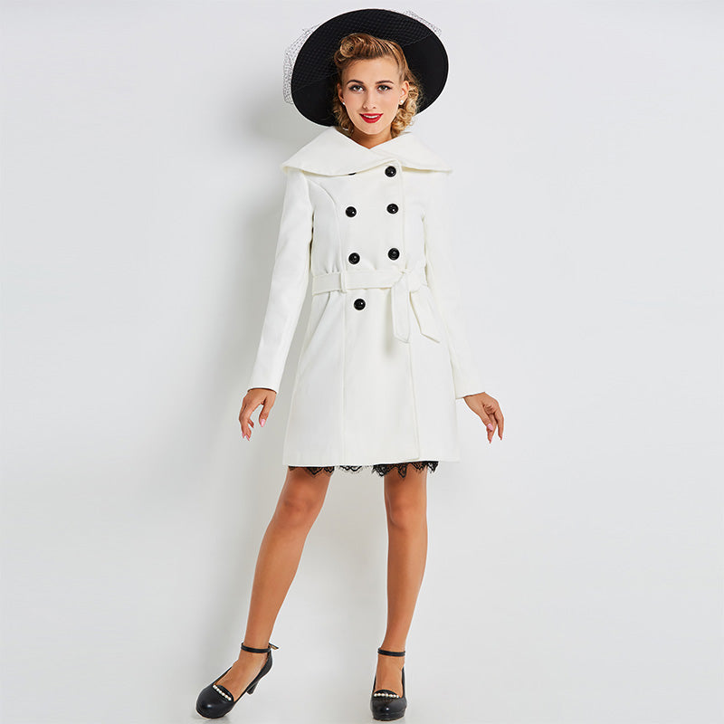 Women's Coat Vintage 1950s Trenchcoat White Knee Length 8 Button - Goggi, Jolli & Milki - www.gojomi.com