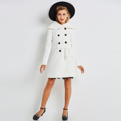 Women's Coat Vintage 1950s Trenchcoat White Knee Length 8 Button