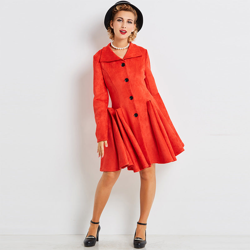 Women's Coat Vintage 1950s Topcoat Red Knee Length Ruched