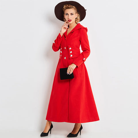 Women's Coat Vintage 1950s Overcoat Red Full Length