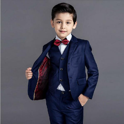 Boys Suit Full Performance Classic 5pcs/set  - Vest+Shirt+Shorts+Bowtie+Jacket