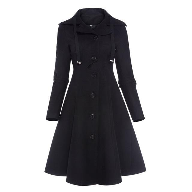 Women's Coat Vintage 1950s Overcoat Black Full Length