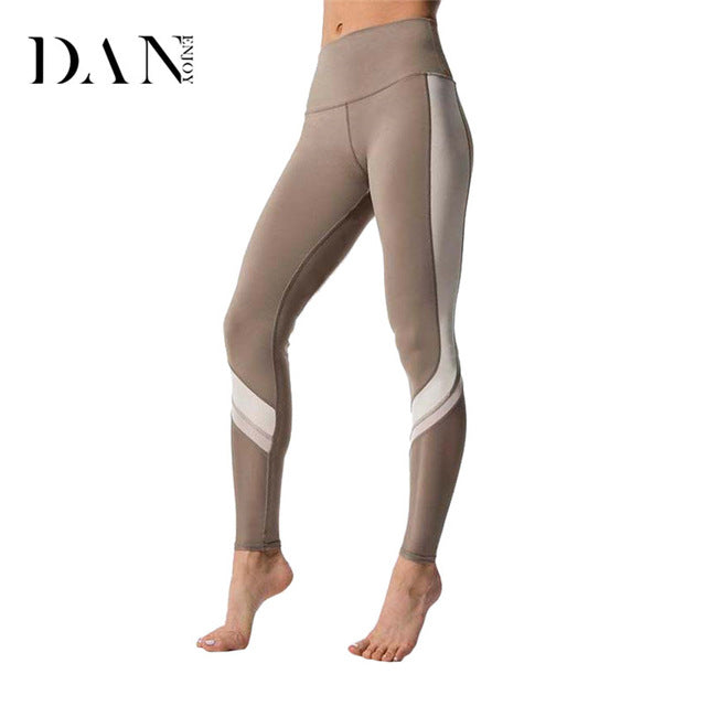 Women Sports Leggings Bi-Colour Side Panel High Waist