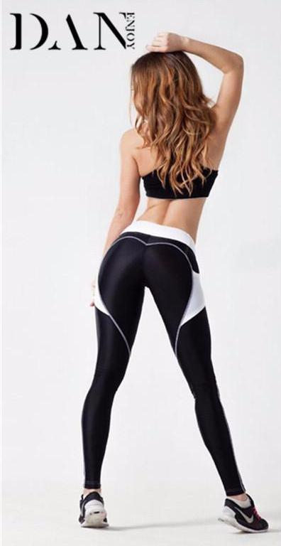 Women Sports Leggings Sexy Heart with Side Mesh Pocket