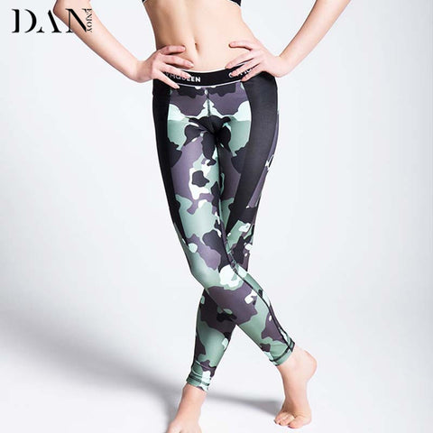 Women Sports Leggings Camouflage Green and Digital Pink