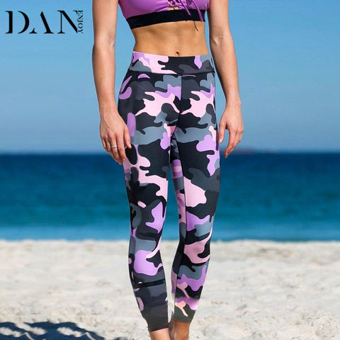 Women Sports Leggings Camouflage Pink