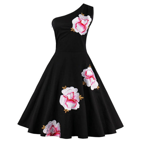 Women's Dress Vintage 1950s Black Floral Embroidery One Shoulder - Goggi, Jolli & Milki - www.gojomi.com