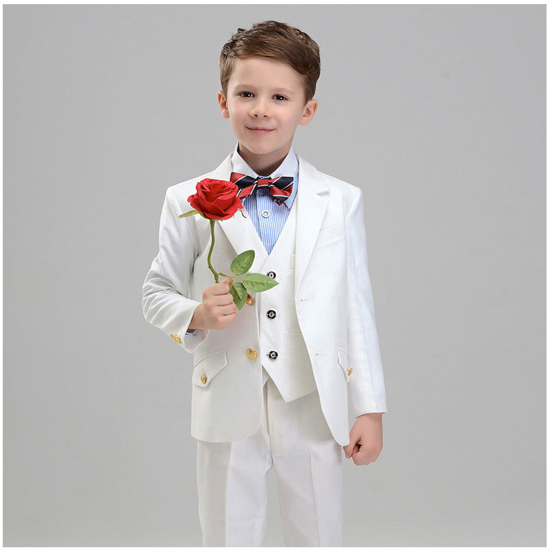 Boys Suit Full Performance White 5pcs/set  - Vest+Shirt+Shorts+Bowtie+Jacket