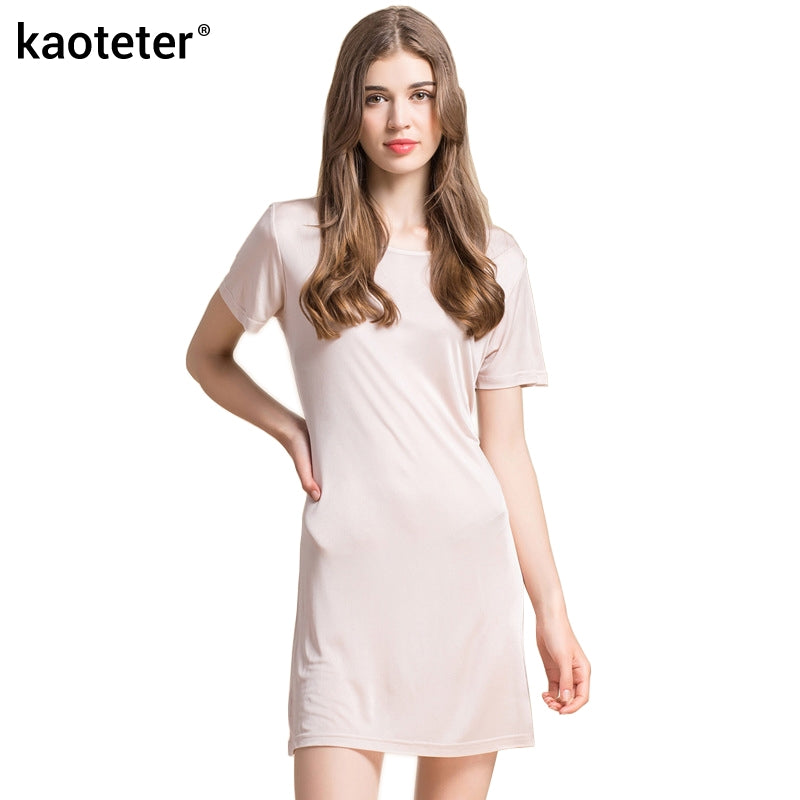 Women's 100% Pure Silk Chemise Full Slip with Short Sleeve - Goggi, Jolli & Milki - www.gojomi.com