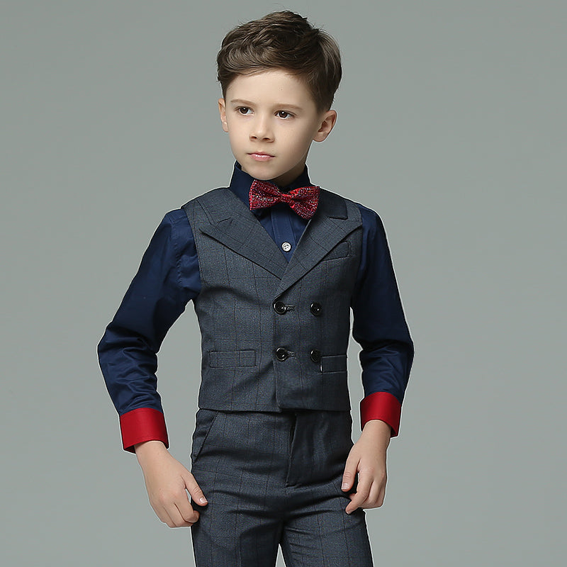 Boys Suit Long Performance Blue 4pcs/set  - Vest+Shirt+Pants+Bowtie - Goggi, Jolli & Milki - www.gojomi.com