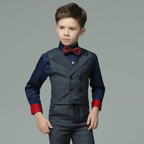 Boys Suit Long Performance Blue 4pcs/set  - Vest+Shirt+Pants+Bowtie