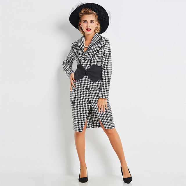 Women's Dress Vintage 1950s Shirtwaist Single-breasted Houndstooth