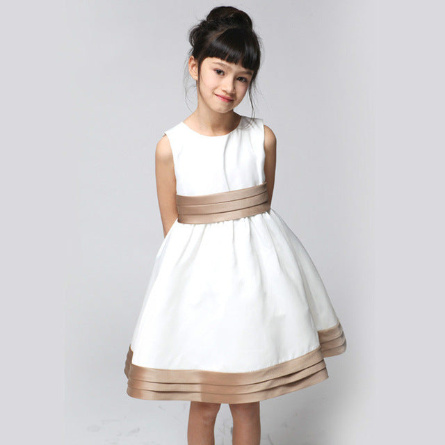 Girls Dress Princess White with Large Back Bow