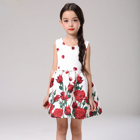 Girls Dress Princess Red Roses and Petals