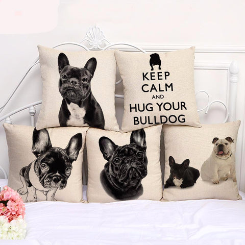 100% FREE just pay shipping. Super French Bulldog Cushion Cover - Goggi, Jolli & Milki - www.gojomi.com
