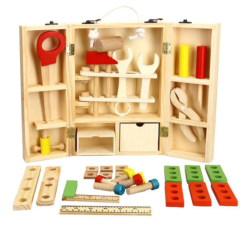 Toy Wooden Pretend Play Carpenter Construction Tool Box