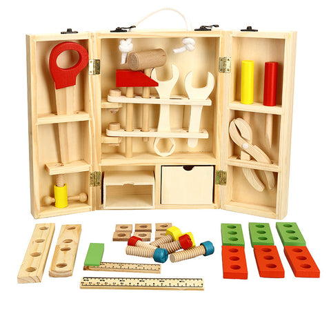 Toy Wooden Pretend Play Carpenter Construction Tool Box - Goggi, Jolli & Milki - www.gojomi.com