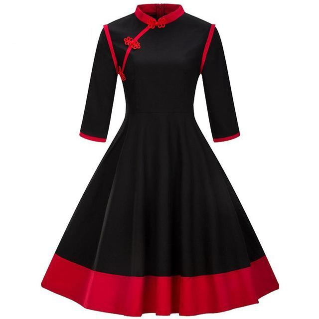 Women's Dress Vintage 1950s Qipao Red Black