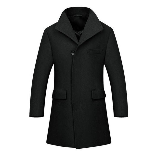 Men's Coat Covert Three Button High-End Black - Goggi, Jolli & Milki - www.gojomi.com
