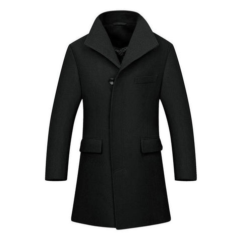 Men's Coat Covert Three Button High-End Black