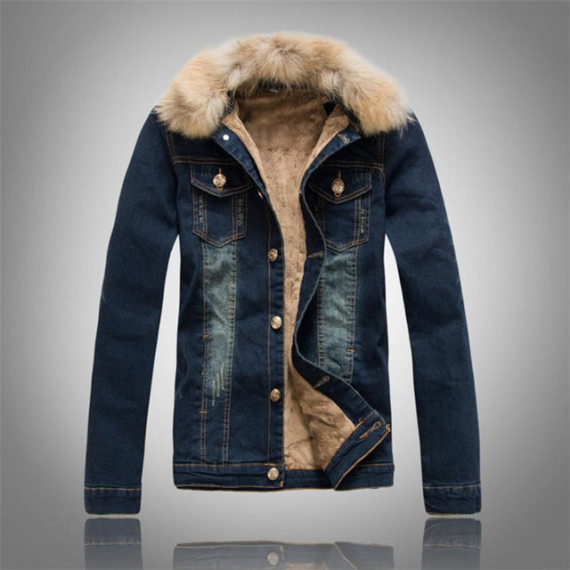 Men's Jacket Denim Cowboy w/ Removable Fur Collar - Goggi, Jolli & Milki - www.gojomi.com