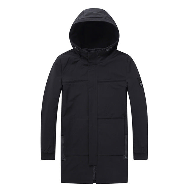 Men's Coat Parka Zipper with Hoodie Modern Korean Windbreaker