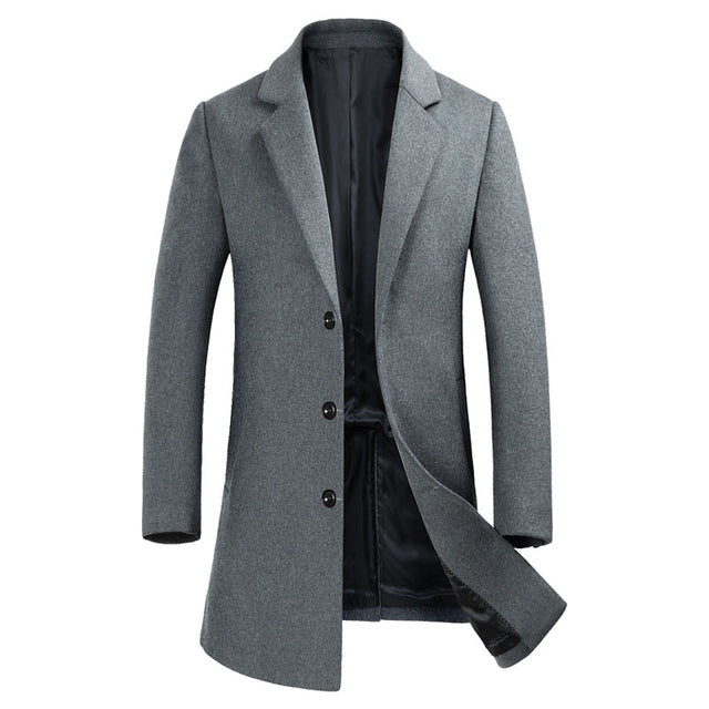 Men's Coat Topcoat Three Button Notched Lapel Traditional