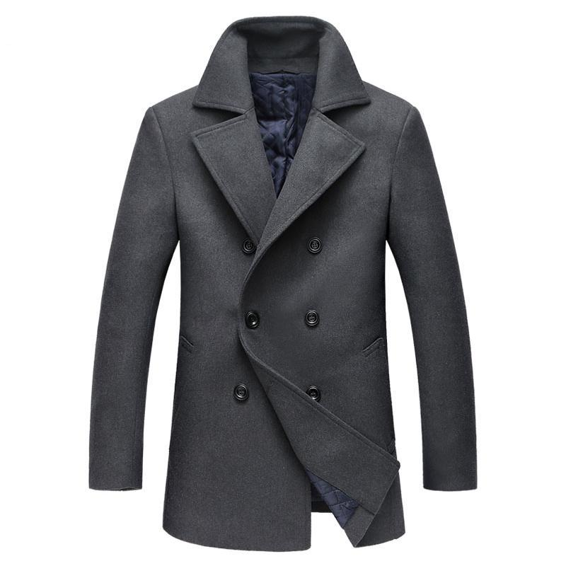 Men's Coat Peacoat Six Buttons Notched Lapel Traditional