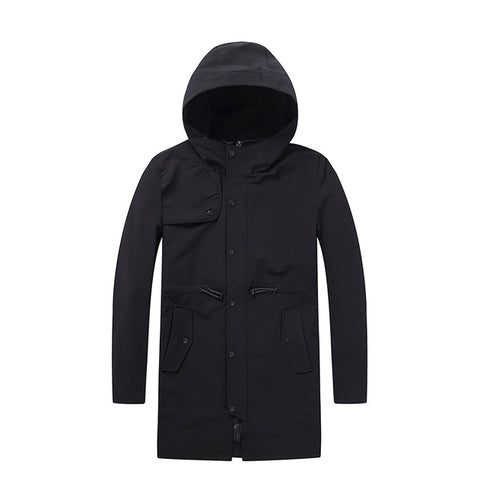 Men's Coat Raincoat Six Buttons with Hoodie