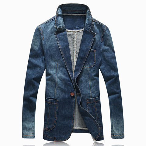 Men's Jacket Blazer Single Button Notched Lapel Traditional Casual Demin - Goggi, Jolli & Milki - www.gojomi.com