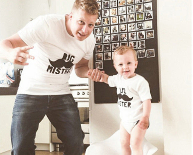 The Matching Family T-shirt Short Big Mister Lil Mister Moustache - Goggi, Jolli & Milki - www.gojomi.com