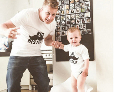 The Matching Family T-shirt Short Big Mister Lil Mister Moustache