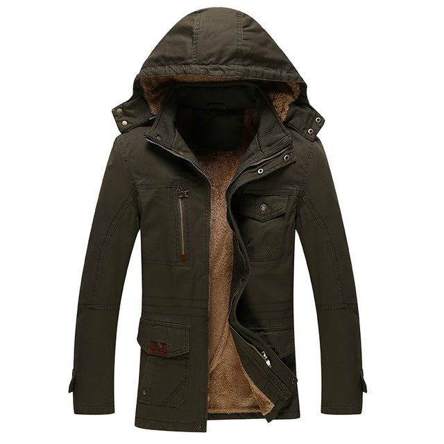 Men's Coat Parka Zipper with Hoodie - Detachable