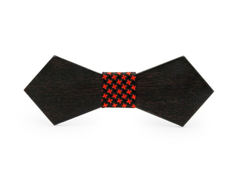 Bunyan's Bow Ties - Diamond Point Black Plain Handcrafted Wood