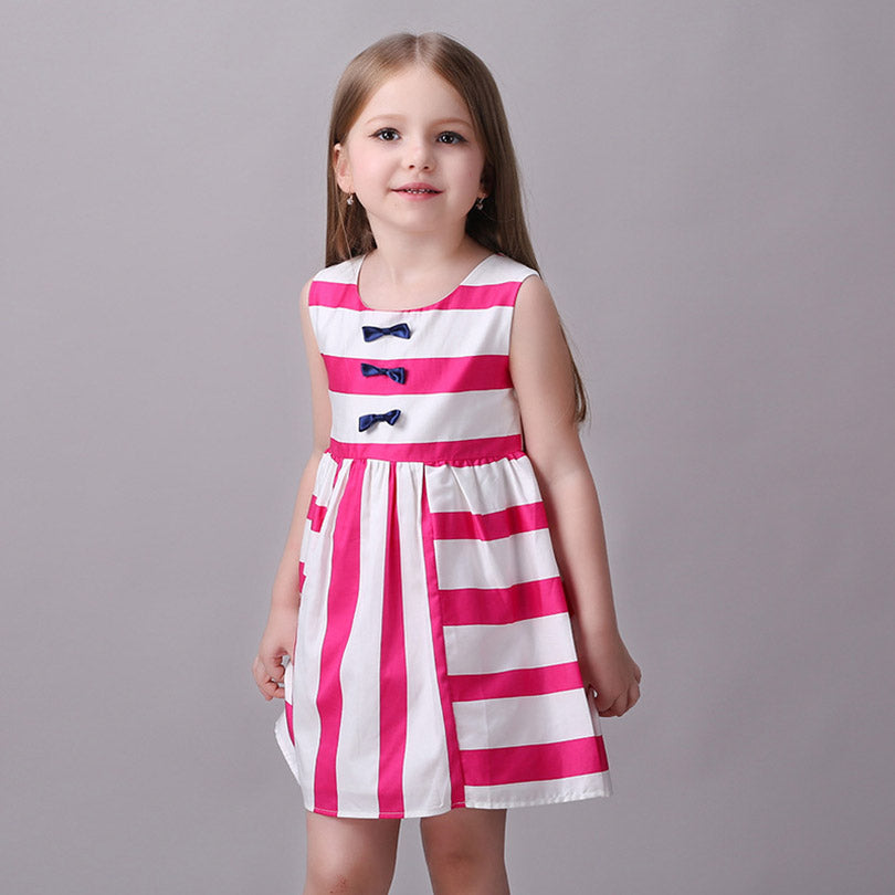 Girls Dress Casual Pink White Stripes with Bows