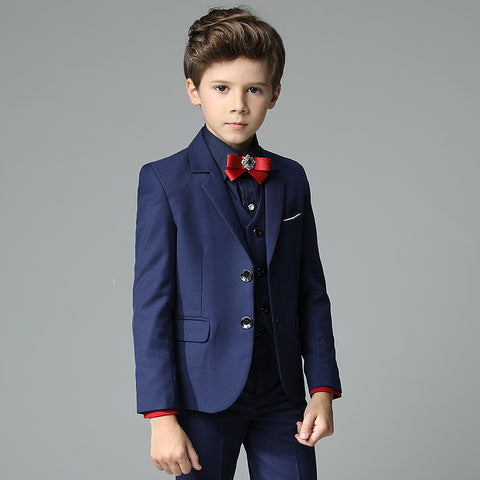 Boys Suit Full Performance Navy Blue 5pcs/set  - Vest+Shirt+Shorts+Bowtie+Jacket