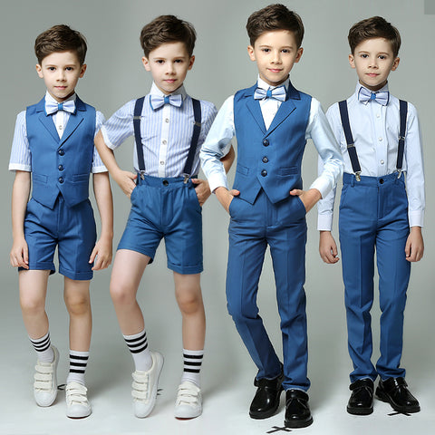 Boys Suit Ensemble Azure 4pcs/set  - Strap/Vest+Shirt+Shorts/Pants+Bowtie