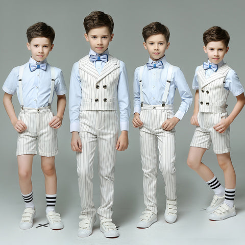 Boys Suit Ensemble Stripes 4pcs/set  - Strap/Vest+Shirt+Shorts/Pants+Bowtie