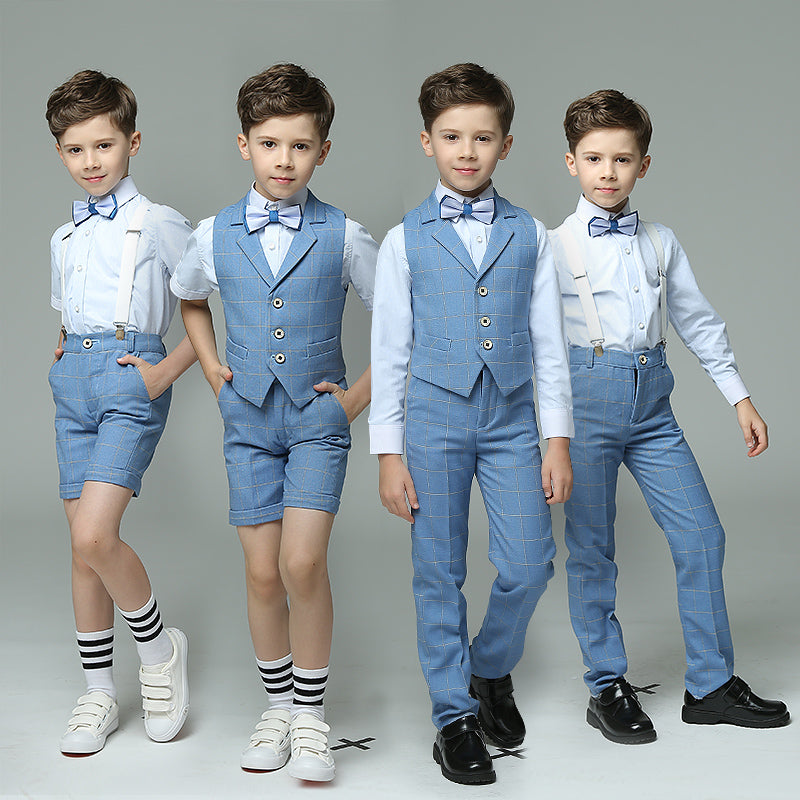 Boys Suit Ensemble Blue 4pcs/set  - Strap/Vest+Shirt+Shorts/Pants+Bowtie - Goggi, Jolli & Milki - www.gojomi.com